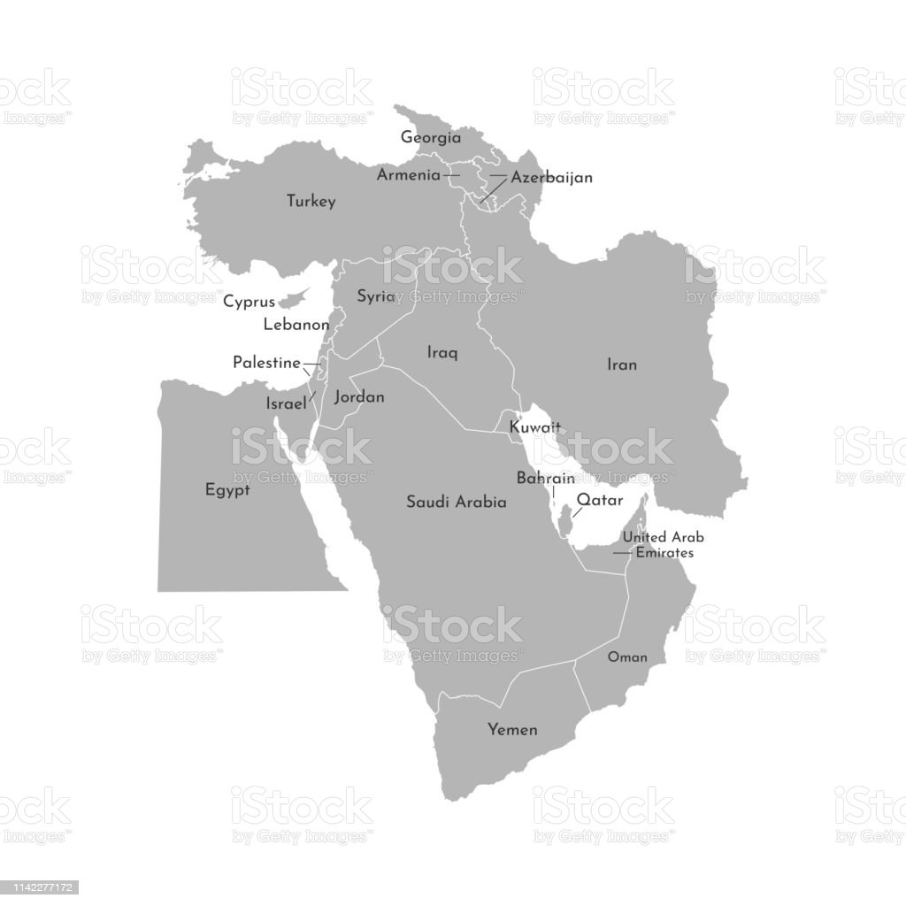 Vector Illustration Map Of Asian Countries Middle East States ... on map jordan and saudi arabia, map of bahrain and jordan, map of bahrain and surrounding countries, map of bahrain and india,