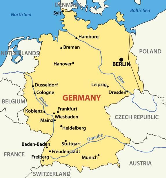 vector illustration -  map of germany - ostsee stock-grafiken, -clipart, -cartoons und -symbole