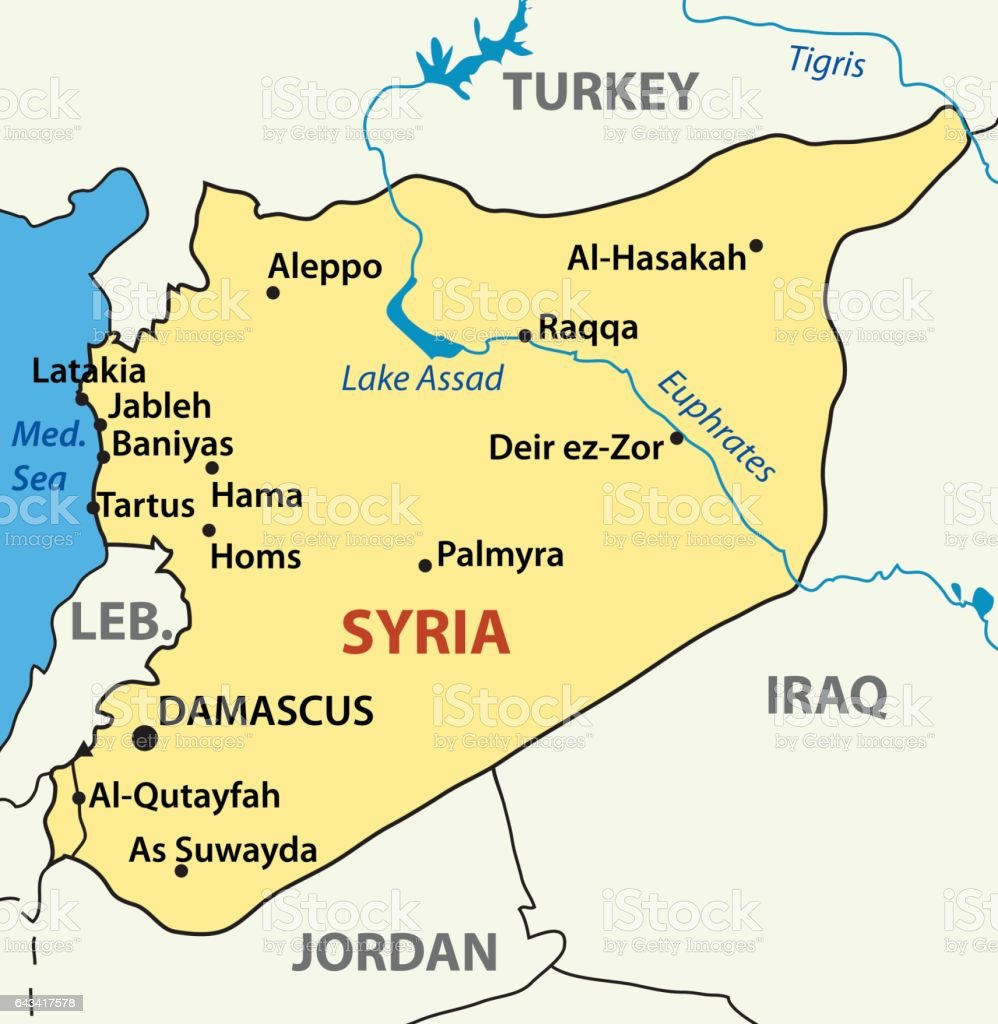 Vector Illustration Map Of Syria Stock Vector Art & More Images of ...