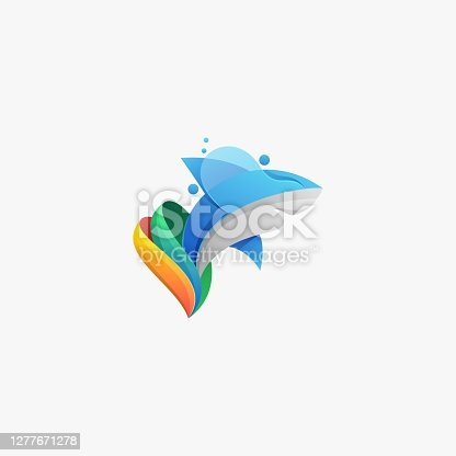Vector Illustration Marine Predator Gradient Colorful Style..