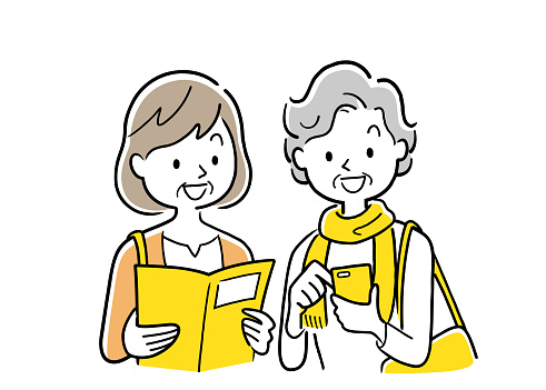 Vector Illustration Material: Two senior women looking at a smartphone and a guidebook while traveling