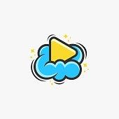 Vector Illustration Media Cloud Cute Cartoon Style.