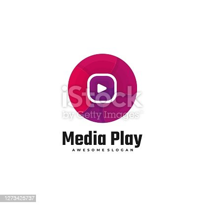 istock Vector Illustration Media Play Gradient Colorful Style. 1273425737
