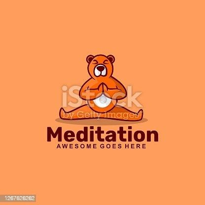 istock Vector Illustration Meditation Simple Mascot Style. 1267626262
