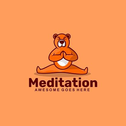 Vector Illustration Meditation Simple Mascot Style.