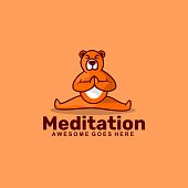 Vector Illustration Meditation Simple Mascot Style.