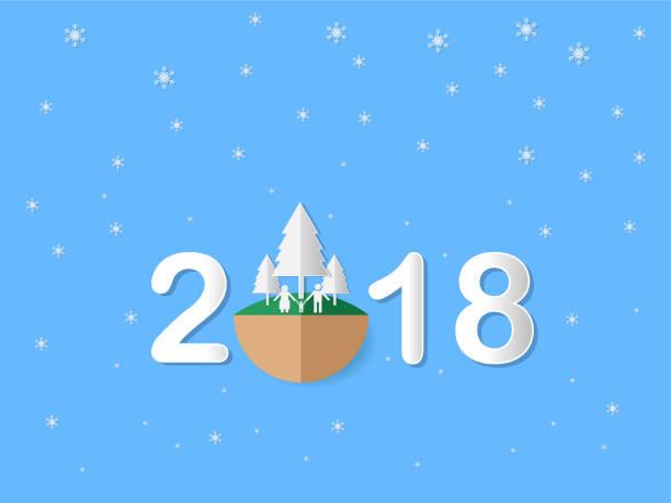 Vektor-Illustration, Frohe Weihnachten und happy new Year 2018 – Vektorgrafik
