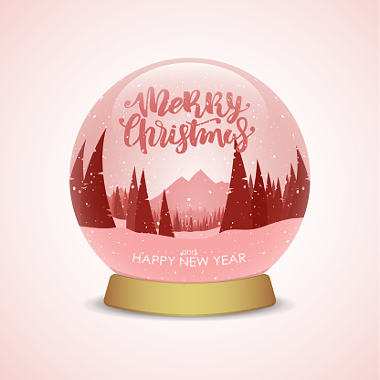 Vector illustration: Merry Christmas and Happy New Year. Snow globe with red winter mountains landscape.