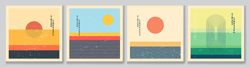 Vector illustration. Mid century modern graphic. 70s retro funky graphic. Grunge texture. Minimalist landscape set. Abstract shapes. Design elements for social media, blog post, banner, card