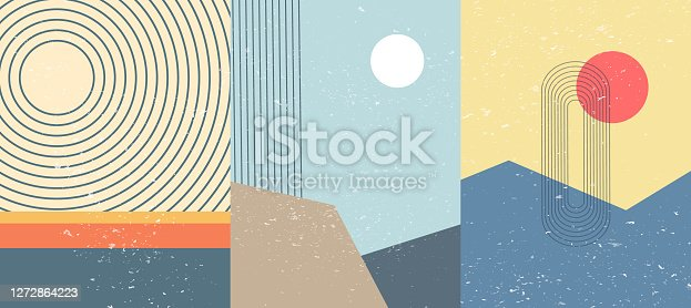 Vector illustration. Mid century modern graphic. Grunge texture. Minimalist landscape set. Abstract shapes. Design elements for poster, book cover, brochure, magazine, presentation, card