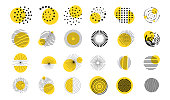 Vector illustration. Minimalist flat design elements for poster, book cover, frame, gift card. Abstract circle shapes collection with line art wavy pattern. Dots halftone. Yellow and black color