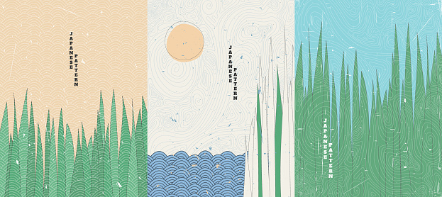 Vector illustration. Minimalist style. Grass near water. Cane. Japanese old style. Topographic pattern. Design for poster,  cover, greeting card, brochure. Line art. Grunge textured backgrounds set