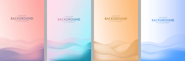 Vector illustration. Minimalist wavy posters. Bright gradient color. Futuristic style. Design for book cover, flyer, leaflet, brochure. Abstract landscapes: desert, hills, sunset scene, sea waves.