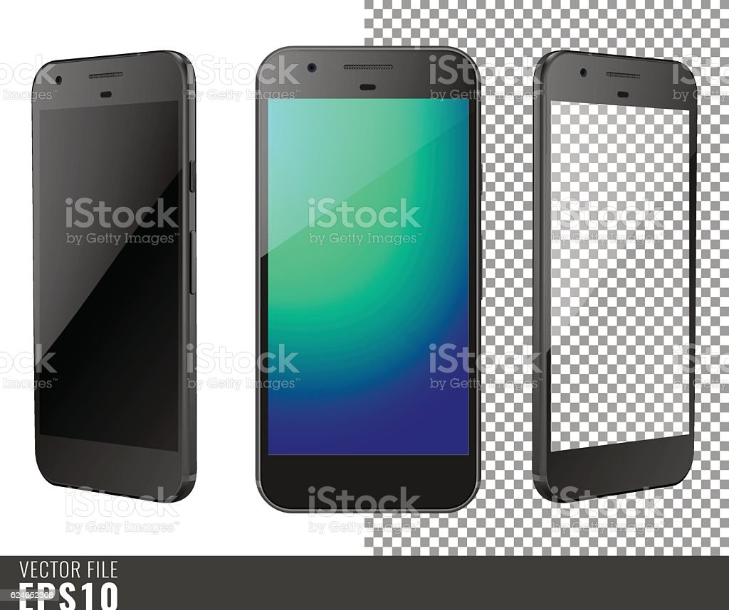 Vector illustration mock-up of black smart-phone vector art illustration