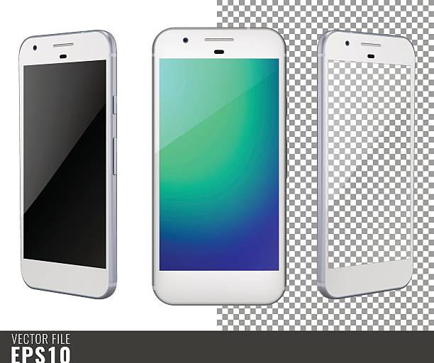 ilustraciones, imágenes clip art, dibujos animados e iconos de stock de vector illustration mock-up of white smart-phone - teléfono inteligente