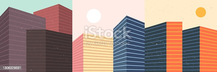 istock Vector illustration. Modern art background. Color wallpapers set. Minimalist graphic design elements for social media background, web template. Buildings in geometric line style. Retro graphic 1306329331