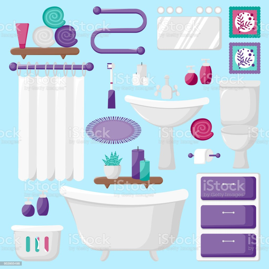 Vector Illustration Modern Bathroom Interior Elements Flat Icons As ...