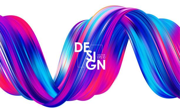 vektor-illustration: modernen bunten flow hintergrund. abstrakte welle verdreht flüssiger form. vorlage für ihr design - verdreht stock-grafiken, -clipart, -cartoons und -symbole