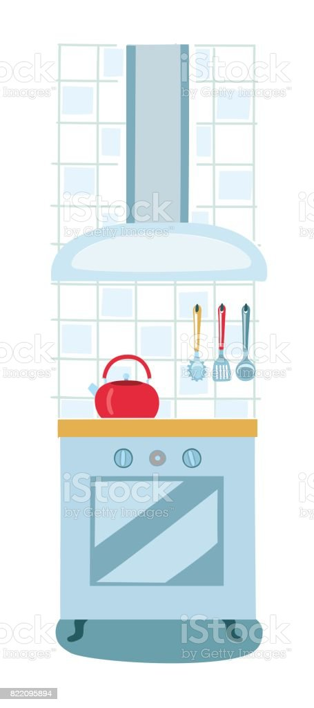 Vector illustration modern electric or gas stove and extractor kitchen hood. vector art illustration