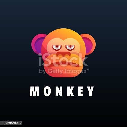 istock Vector Illustration Monkey Gradient Colorful Style. 1256625010