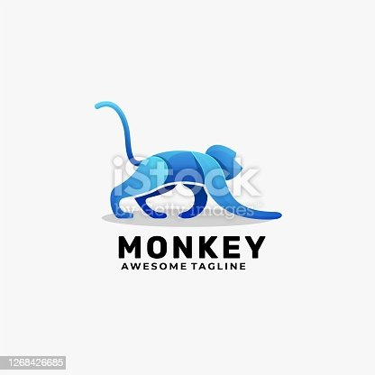 istock Vector Illustration Monkey Gradient Colorful Style. 1268426685