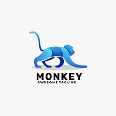 Vector Illustration Monkey Gradient Colorful Style.