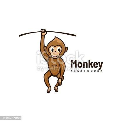 istock Vector Illustration Monkey Simple Mascot Style. 1254737358
