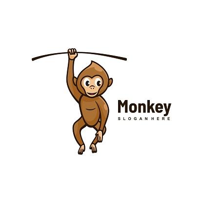 Vector Illustration Monkey Simple Mascot Style.