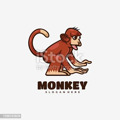 istock Vector Illustration Monkey Simple Mascot Style. 1256232829