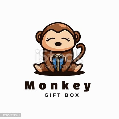 istock Vector Illustration Monkey Simple Mascot Style. 1265829821