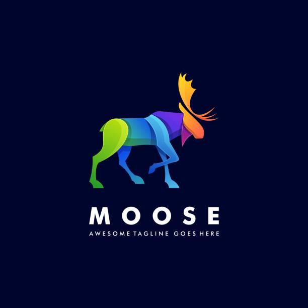 ilustraciones, imágenes clip art, dibujos animados e iconos de stock de ilustración vectorial moose ciervo caminando degradado colorido. - hueva