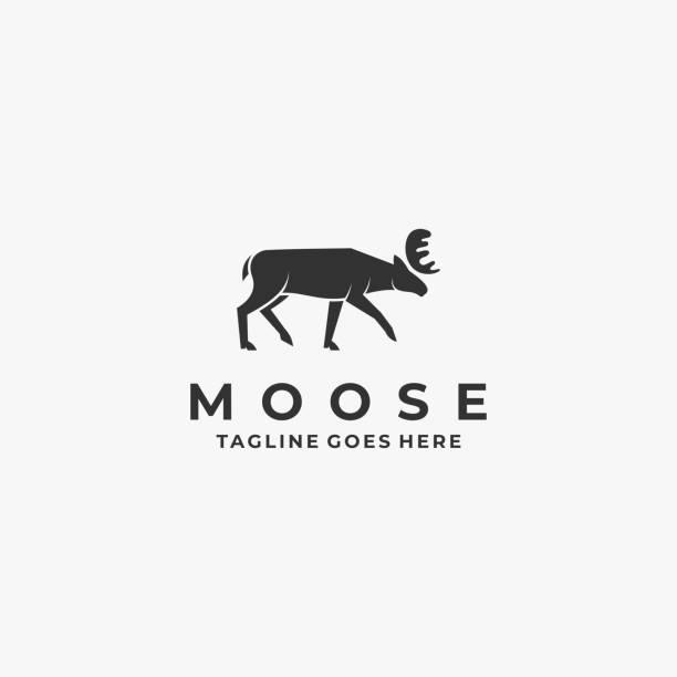 ilustraciones, imágenes clip art, dibujos animados e iconos de stock de ilustración vectorial moose pose degradado colorido. - hueva