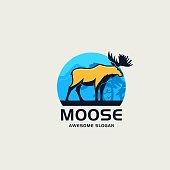 Vector Illustration Moose Pose Mascot Cartoon Style.