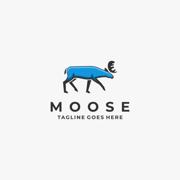 ilustraciones, imágenes clip art, dibujos animados e iconos de stock de ilustración vectorial moose pose mascota estilo de dibujos animados. - hueva