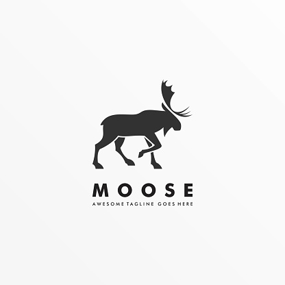 Vector Illustration Moose Pose Silhouette Style.