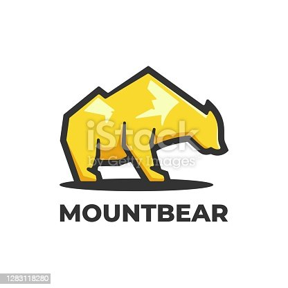 istock Vector Illustration Mountain Bear Simple Mascot Style. 1283118280