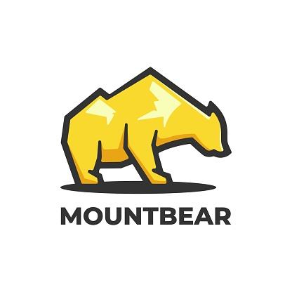 Vector Illustration Mountain Bear Simple Mascot Style.