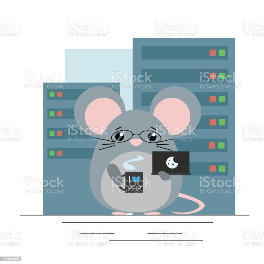 Vector illustration. Mouse - programmer standing with computer and coffee in server room. Cute flat design vector art illustration