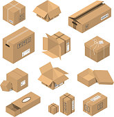 Carton delivery packaging open and closed with fragile signs. Vector illustration moving box isometric isolated warehouse transportation cardboard object.