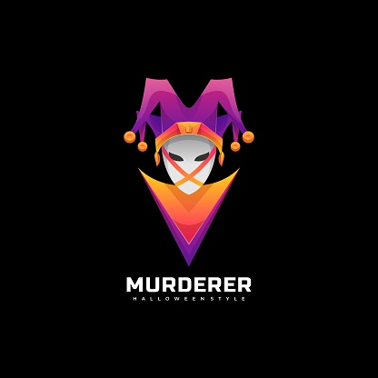 Vector Illustration Murderer Gradient Colorful Style.