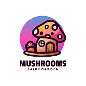 Vector Illustration Mushrooms Gradient Colorful Style.