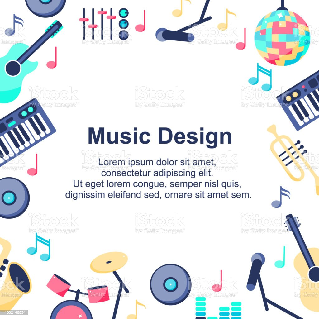 Vector Illustration Music Design Poster With Musical