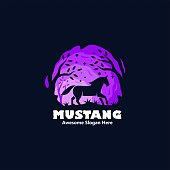 Vector Illustration Mustang Silhouette Style.