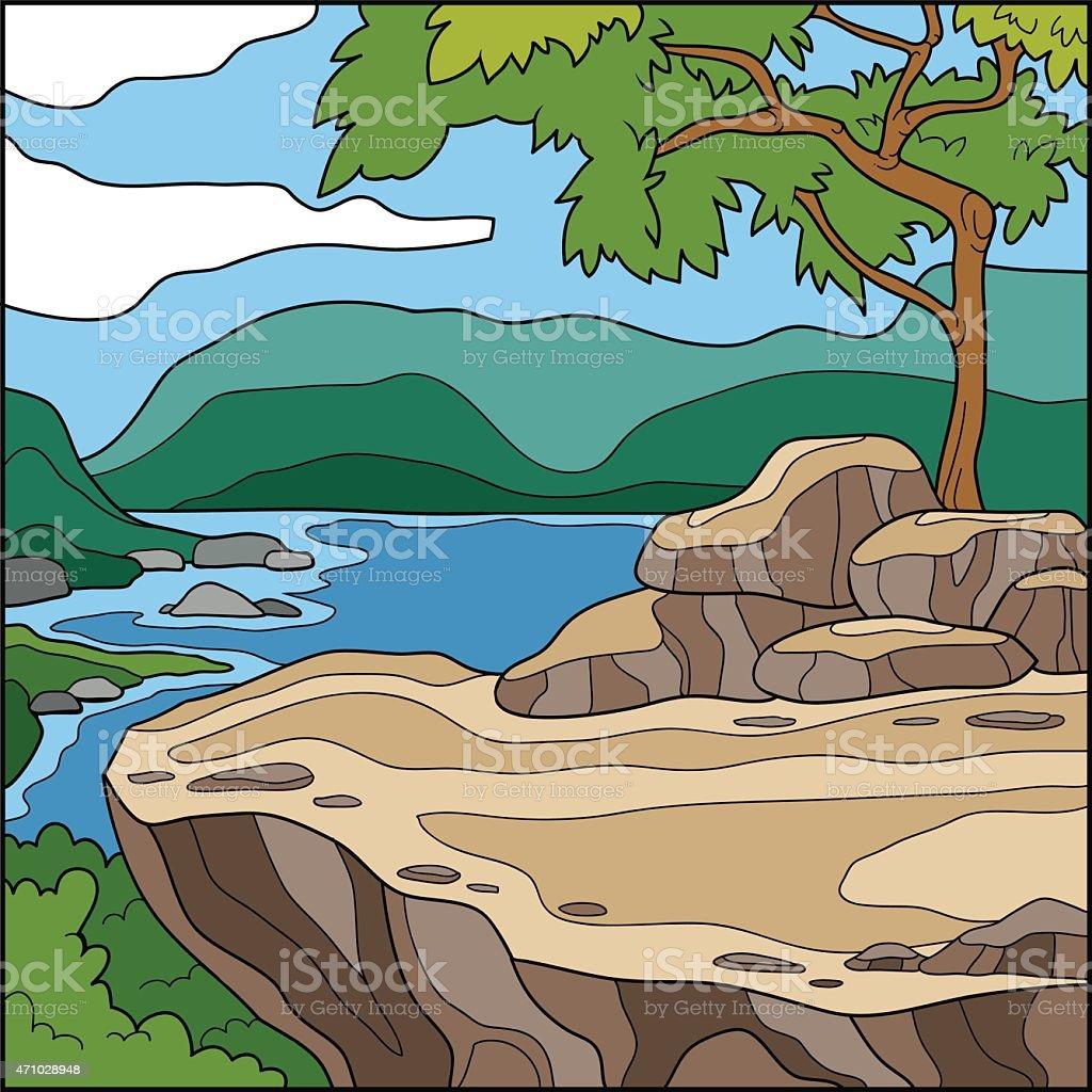 ベクトルイラスト自然の背景を見下ろす崖の上の 2015年のベクター