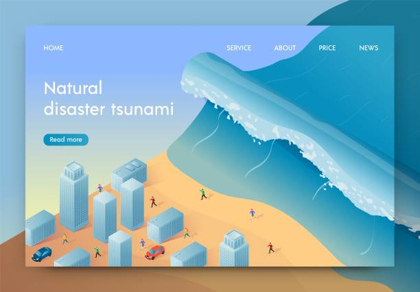 Vector Illustration Natural Disaster Tsunami. Vector Illustration Natural Disaster Tsunami. High Wave is Approaching Big City. People are Fleeing From Natural Disaster. Coastal City Disaster. Life Insurance against Natural Disasters. tsunami stock illustrations