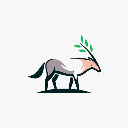 Vector Illustration Nature Antelope Simple Mascot Style.