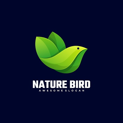 Vector Illustration Nature Bird Gradient Colorful Style.