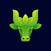 istock Vector Illustration Nature Bull Gradient Colorful Style. 1288198055