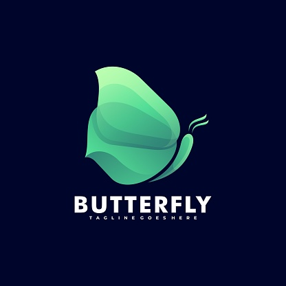 Vector Illustration Nature Butterfly Gradient Colorful Style.