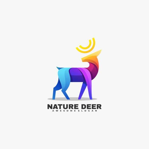 Vector Illustration Nature Deer Gradient Colorful Style. Vector Illustration Nature Deer Gradient Colorful Style. hoofed mammal stock illustrations